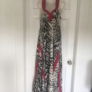 Express Black & White Print Maxi Pink Accents